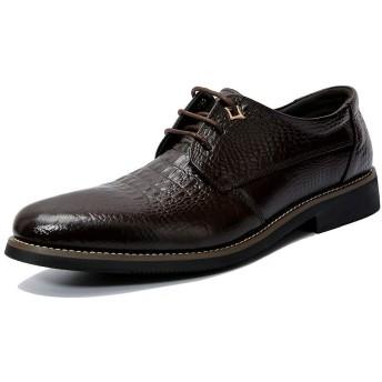 [hernor] ビジネスシューズ メンズ 本革 ストレートチップ 紳士靴 24.0cm-27.0CM 防滑 外羽根 革靴(ダークブラウン,24)