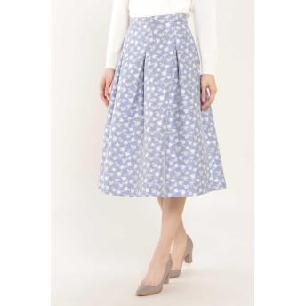 NATURAL BEAUTY フラワージャカードスカート ひざ丈スカート,ブルー