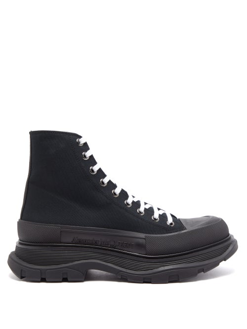 Alexander Mcqueen - Tread Slick High-top Canvas And Leather Trainers - Mens - Black