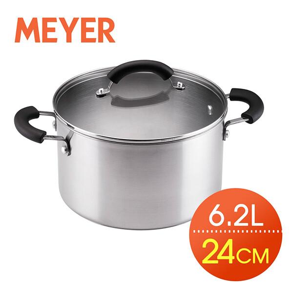 meyer美亞-百年鋼導磁輕量不鏽鋼雙耳湯鍋24cm/6.2l有蓋(日本不鏽鋼fw2/ccss/不含