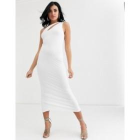 エイソス レディース ワンピース トップス ASOS DESIGN going out slash front maxi dress White