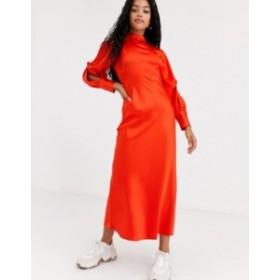 エイソス レディース ワンピース トップス ASOS DESIGN high neck satin bias maxi dress with knot sleeve detail Bright red