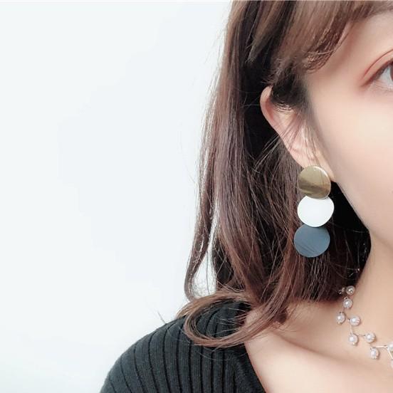 韓國 簡約三片撞色 復古耳環
