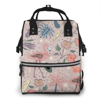ミイラ袋 フラミンゴの鳥 バックパック ミイラバッグ 多機能 大容量 ママバッグ マザーズリュック おむつバッグ 旅行用バックパック ギフト
