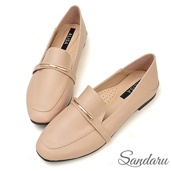 訂製鞋 金飾軟皮兩穿樂福鞋-米