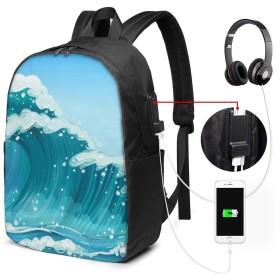 海の波 リュック バックパックリュックサック USB充電ポート付き イヤホン穴付き 大容量 PCバッグ レジャーバッグ 旅行カバン 登山リュック ビジネスリュック ユニセックス おしゃれ 人気