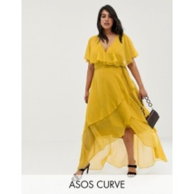 エイソス レディース ワンピース トップス ASOS DESIGN Curve maxi dress with cape back and dipped hem Mustard