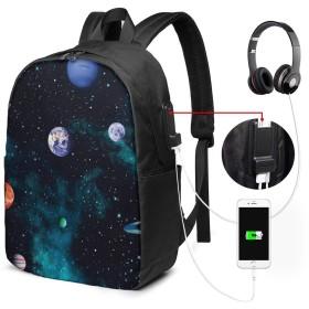 地球 惑星 土星 バッグ 17インチ USB充電ポート付き バックパック 調節可能なショルダーストラップ アウトドアリュック 登山リュック 季節新品 多機能 通学 通勤 出張 旅行用 大容量 黒 メンズ レディース通用