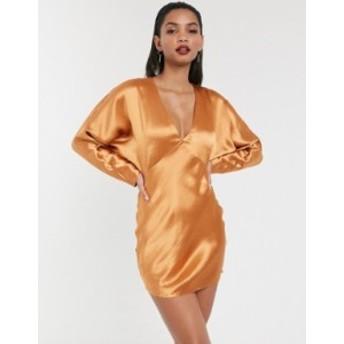 エイソス レディース ワンピース トップス ASOS DESIGN mini dress batwing sleeve bias cut Copper
