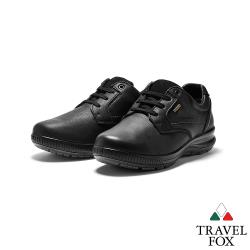 TRAVEL FOX(男) 亞力斯 歐洲進口全牛皮綁帶減壓休閒鞋 - 著墨黑