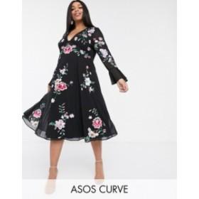 エイソス レディース ワンピース トップス ASOS DESIGN Curve embroidered midi dress with lace inserts Black