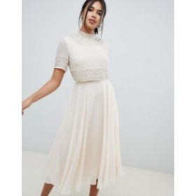 エイソス レディース ワンピース トップス ASOS DESIGN midi dress with high neck crop top in delicate embellishment Cream