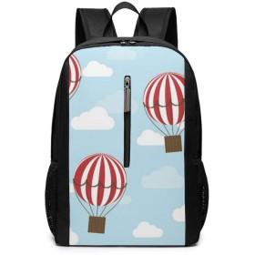 大型ラップトップバックパック、防水ビジネスキャリーバックパックで男性女性、大学の学校耐久性のあるコンピューターブックバッグ、ウォーターボトルポケットデイパック、熱気球旅行