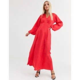 エイソス レディース ワンピース トップス ASOS DESIGN maxi dress with puff sleeves in jacquard Red
