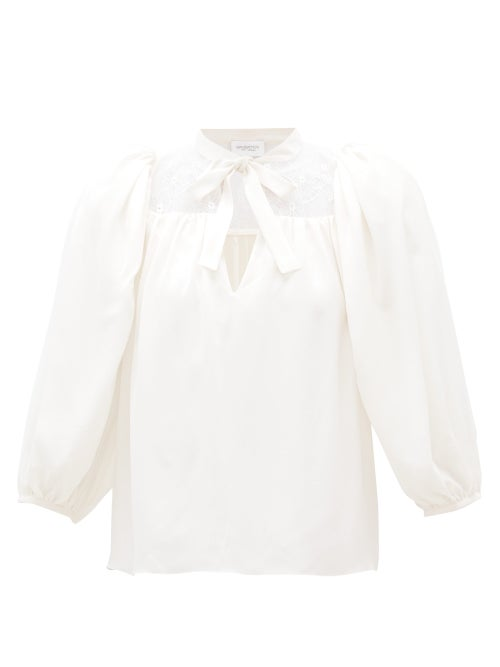 Giambattista Valli - Lace-panel Silk-crepe Blouse - Womens - Ivory