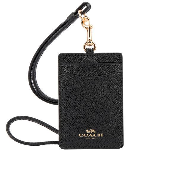 COACH LOGO馬車防刮皮革證件套票卡夾(黑色) F57311 IMBLK