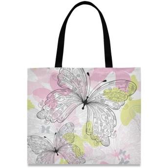 トートバッグ 学生 ハンドバッグ 手提げ キャンバス かわいい 花柄 蝶柄 肩掛けバッグ 大容量 レディース 軽量 通勤 通学 おしゃれ