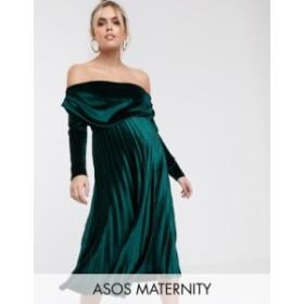 エイソス レディース ワンピース トップス ASOS DESIGN Maternity velvet long sleeve bardot pleated midi dress Forest green