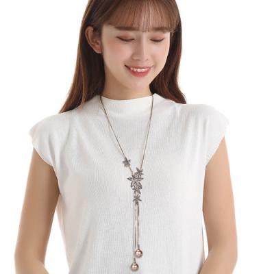 韓國 復古情調花卉香檳珍珠長項鍊