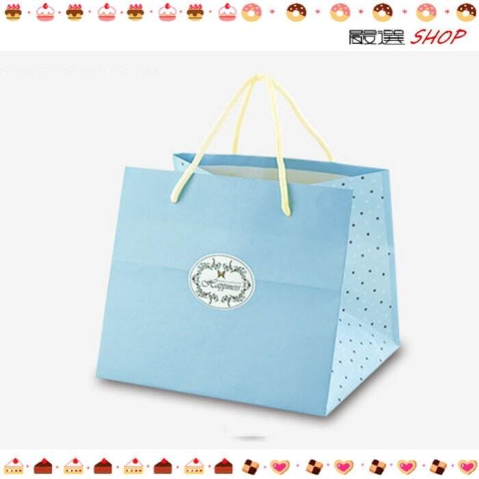 經典粉藍 紙袋 禮盒袋 乳酪盒袋 購物袋 外賣袋 手提袋 蛋糕袋 包裝袋 時尚袋 環保袋d076