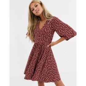 エイソス レディース ワンピース トップス ASOS DESIGN floral mini button front swing dress Berry floral