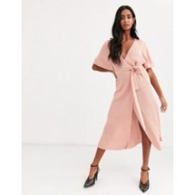 エイソス レディース ワンピース トップス ASOS DESIGN wrap midi dress in rib knit with volume sleeve Costmetic pink