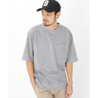 BASE CONTROL(ベースコントロール) フェイクスエード ビッグシルエット 半袖 Tシャツ
