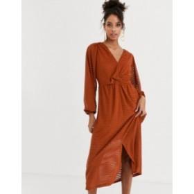 エイソス レディース ワンピース トップス ASOS DESIGN Long sleeve burnout stripe midi dress Rust