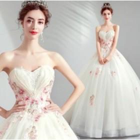 上品 ベアトップ チュール フォマールドレス フェミニン パーティドレス 挙式 結婚式 Seet style お呼ばれドレス 撮影 編み上げ