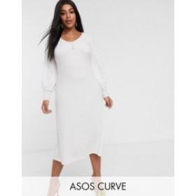 エイソス レディース ワンピース トップス ASOS DESIGN Curve long sleeve swing rib bow back midi dress Winter white