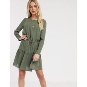エイソス レディース ワンピース トップス ASOS DESIGN long sleeve tiered mini dress Khaki
