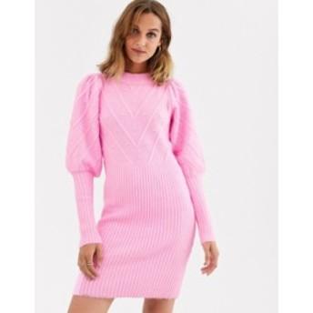 リバーアイランド レディース ワンピース トップス River Island knitted dress with puff sleeves and stitch detail in pink Pink