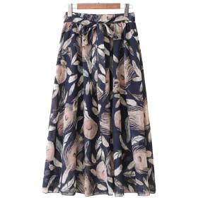 女性のヴィンテージフローラルスカート長袖スカートパーティーファッションスカート SLhouse (Color : Blue, Size : XXXXL)