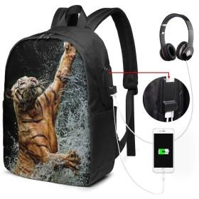 虎 水 バッグ 17インチ USB充電ポート付き バックパック 調節可能なショルダーストラップ アウトドアリュック 登山リュック 季節新品 多機能 通学 通勤 出張 旅行用 大容量 黒 メンズ レディース通用