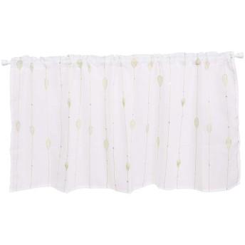 カフェカーテン 刺繍 HAVARGO 目隠し おしゃれ かわいい 春 夏 レースカフェ ホワイト 幅110cm×45cm丈