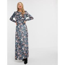 エイソス レディース ワンピース トップス ASOS DESIGN long sleeve high neck velvet maxi dress in floral print Floral print