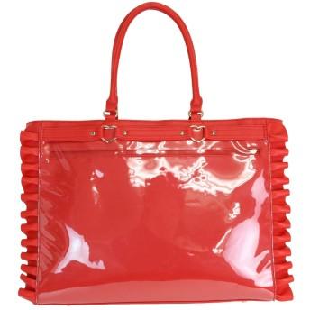 A3ハートバックルフェイクレザーフリルトートバッグ RED(レッド)