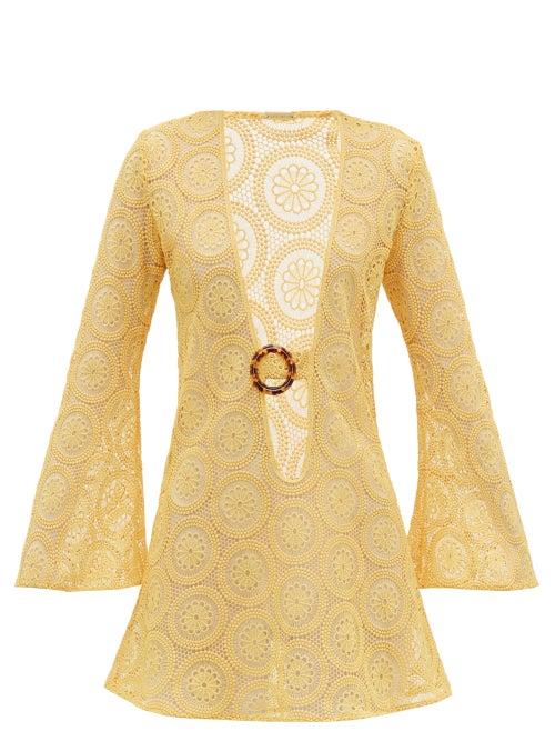 Dodo Bar Or - Jane Cotton Crocheted-lace Mini Dress - Womens - Yellow