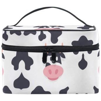 乳牛アート化粧品 バッグ オーガナイザー ジッパー メイク バッグ ポーチ トイレタリー ケース 女の子 女性用