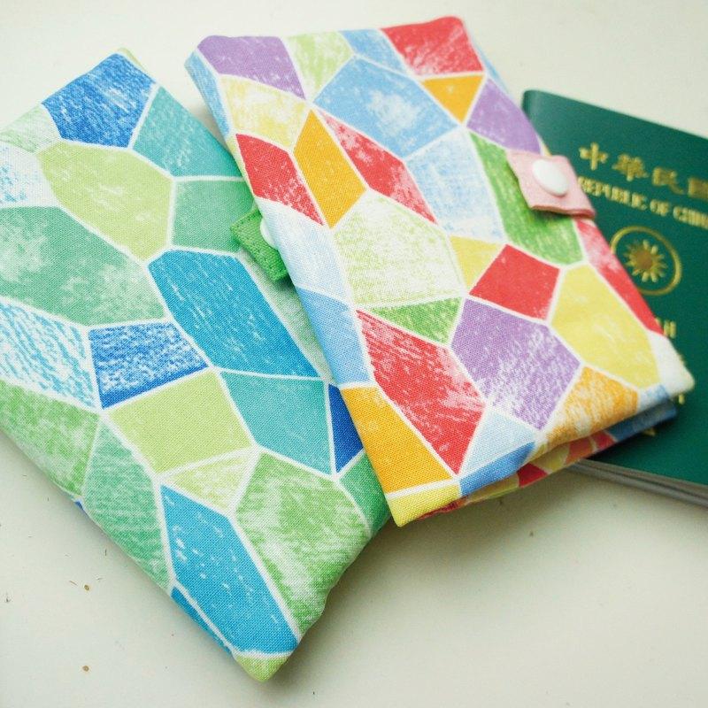 Lovely【日本布】彩繪玻璃拉鍊護照套、布書套10X14cm(1組2色)