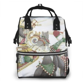 ミイラ袋 メリークリスマス バックパック ミイラバッグ 多機能 大容量 ママバッグ マザーズリュック おむつバッグ 旅行用バックパック ギフト