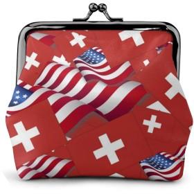 がま口 アメリカの国旗とスイスの国旗 財布 コインケース 小銭入れ レディース 本革 革 がま口財布 コンパクト 大容量 柔らかい 丸形 便利 軽量 小物入れ