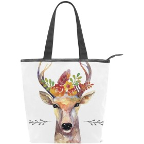 KENADVIトートバッグ 最高級 軽量 キャンバス レディース ハンドバッグ 通勤 通学 旅行バッグ、鹿絵画スタイル自由Bo放に生きる花の花束ヒップスター素朴なアートワーク、スタイリッシュ グラフィックス 収納袋