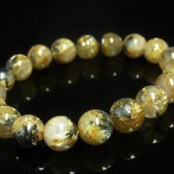 現品一点物 太陽放射タイチンルチル ブレスレット 金針水晶数珠 12ミリ 53g THR21 ヘマタイト 最強金運数珠