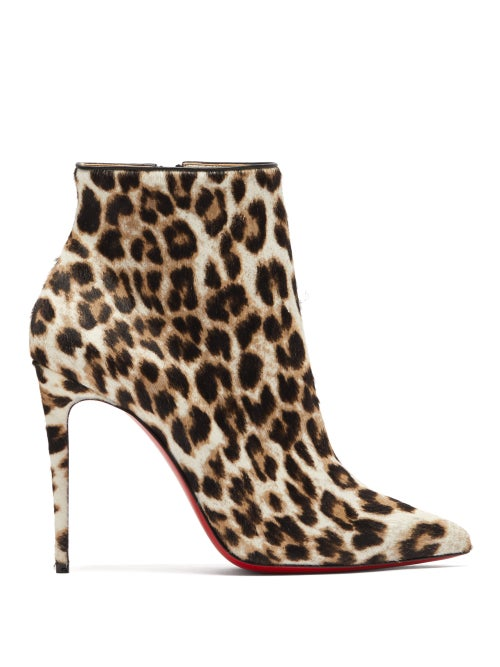 Christian Louboutin - So Kate Booty 100 Leopard-print Calf-hair Boots - Womens - Leopard