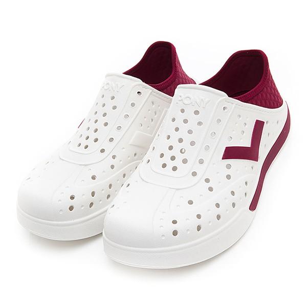 PONY 水鞋【92U1SA02RD】Enjoy 洞洞鞋 水鞋 海灘鞋 可踩跟 懶人拖 菱格紋 白酒紅