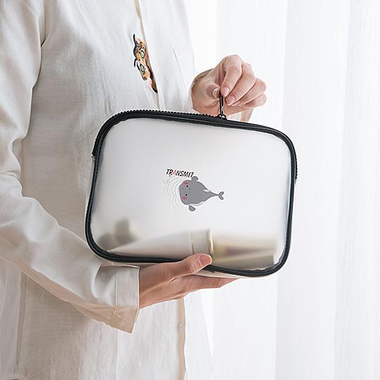 收納包 大容量 化妝包 防水包 果凍包 三角 洗漱包 透明袋 手提包 (A款)透明化妝包【Z115】慢思行