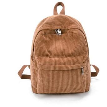 コーデュロイの女性のバックパック純粋な色の女性旅行バッグダブルバックパック女性バッグパックパック、カーキ