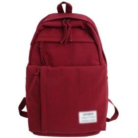 防水ナイロン女性バックパック大容量複数のジップポケットバックパックトラベルバッグ10代の少女通学、赤、28Cm14Cm43Cm