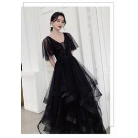 ロングドレス パーティドレス チュールスカート ナイトドレス ワンピ Vネック 黒 二次会 発表会 大きいサイズ オーダーサイズ可 D188